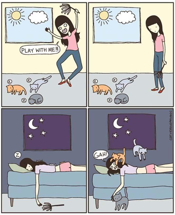 Χιουμοριστικά κόμικς δείχνουν πως είναι να έχεις γάτα (15)