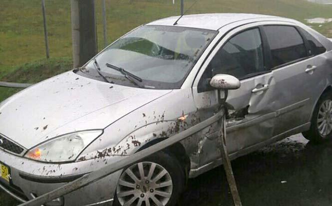 Οδηγός βγήκε ζωντανός από τρομακτικό τροχαίο κυριολεκτικά στο παρά τρίχα (1)