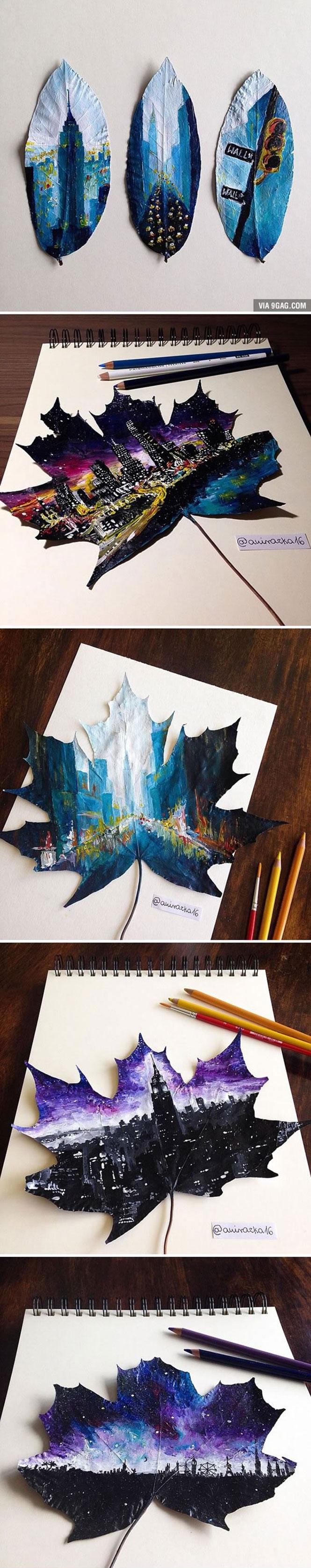 Πολωνή καλλιτέχνις χρησιμοποιεί φθινοπωρινά φύλλα ως καμβά για την ζωγραφική της (1)