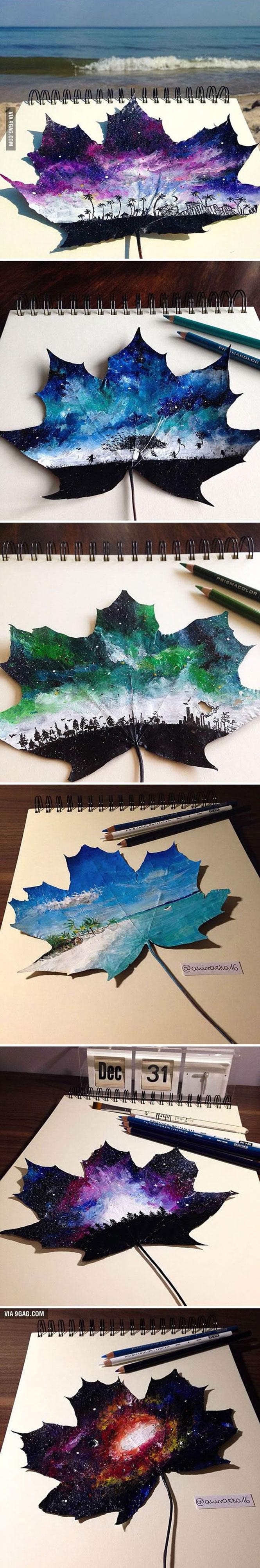 Πολωνή καλλιτέχνις χρησιμοποιεί φθινοπωρινά φύλλα ως καμβά για την ζωγραφική της (2)