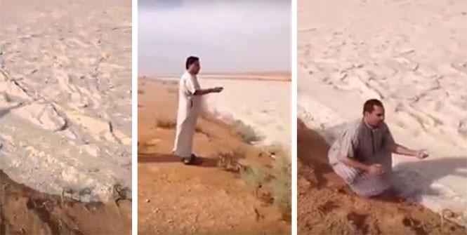 Ποτάμι άμμου από χαλάζι στη Σαουδική Αραβία