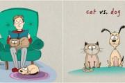 Οι διαφορές του σκύλου με την γάτα σε 5 σκίτσα (1)