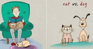 Οι διαφορές του σκύλου με την γάτα σε 5 απίθανα σκίτσα
