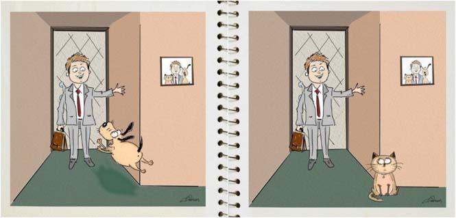 Οι διαφορές του σκύλου με την γάτα σε 5 σκίτσα (4)