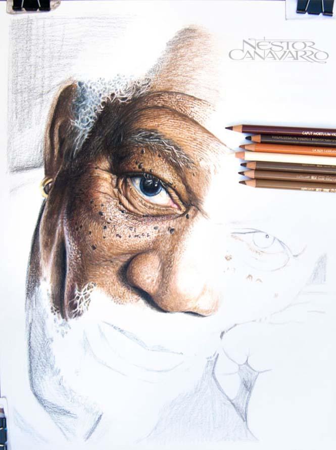 Καλλιτέχνης αφιέρωσε 50 ώρες σε ένα πορτραίτο του Morgan Freeman με ξυλομπογιές (2)