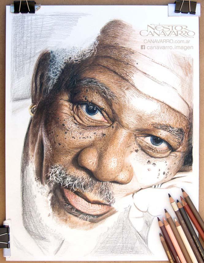 Καλλιτέχνης αφιέρωσε 50 ώρες σε ένα πορτραίτο του Morgan Freeman με ξυλομπογιές (3)