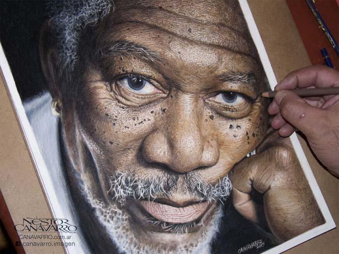 Καλλιτέχνης αφιέρωσε 50 ώρες σε ένα πορτραίτο του Morgan Freeman με ξυλομπογιές (4)