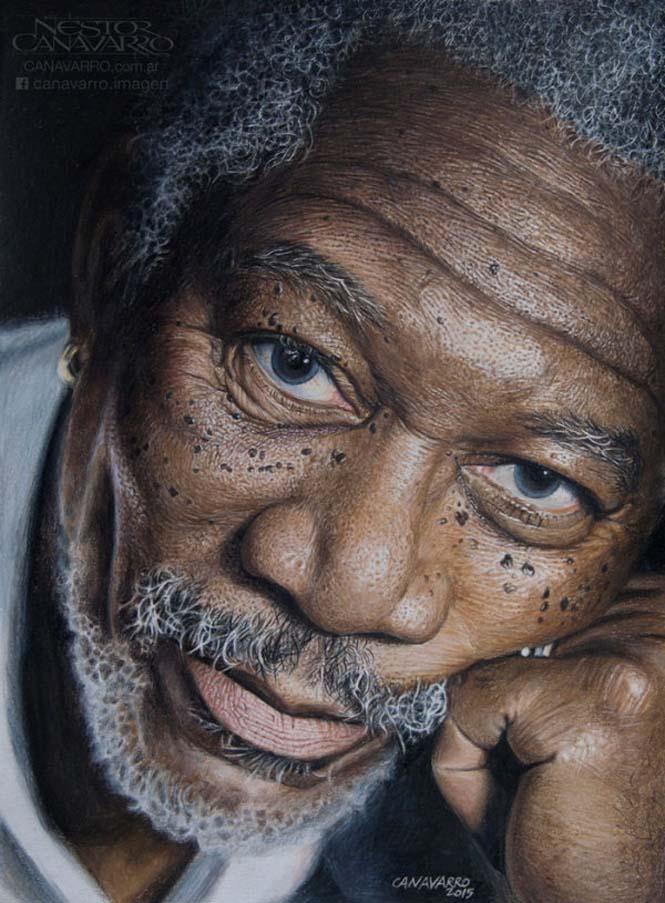 Καλλιτέχνης αφιέρωσε 50 ώρες σε ένα πορτραίτο του Morgan Freeman με ξυλομπογιές (5)