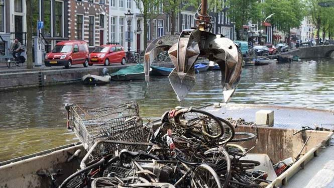 Ψαρεύοντας ποδήλατα στα κανάλια του Άμστερνταμ (2)