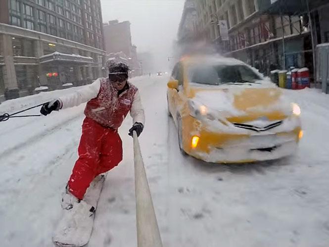 Χιονοθύελλα στη Νέα Υόρκη; Ευκαιρία για snowboarding