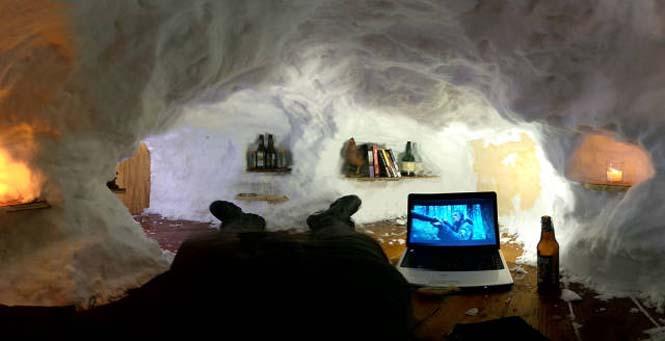 Η χιονοθύελλα του έδωσε την ευκαιρία να φτιάξει ένα Igloo στην αυλή του (9)