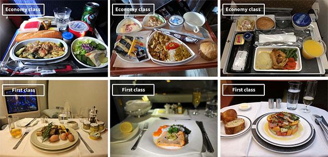 Φαγητό αεροπορικών εταιρειών: Οικονομική vs Πρώτη θέση