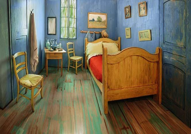 Καλλιτέχνες διαμόρφωσαν ένα υπνοδωμάτιο σαν τον διάσημο πίνακα του Van Gogh (2)