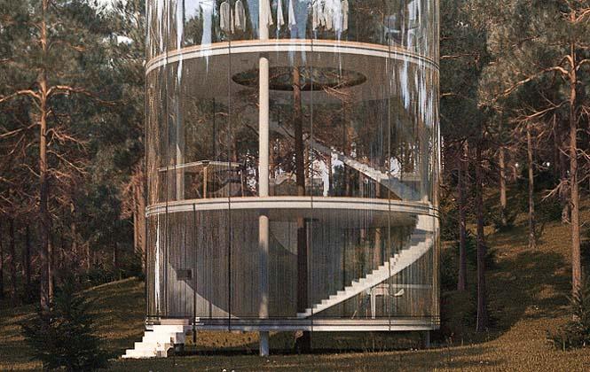 Εκπληκτικό γυάλινο σπίτι γύρω από ένα δέντρο (2)