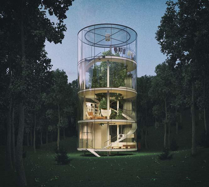 Εκπληκτικό γυάλινο σπίτι γύρω από ένα δέντρο (5)