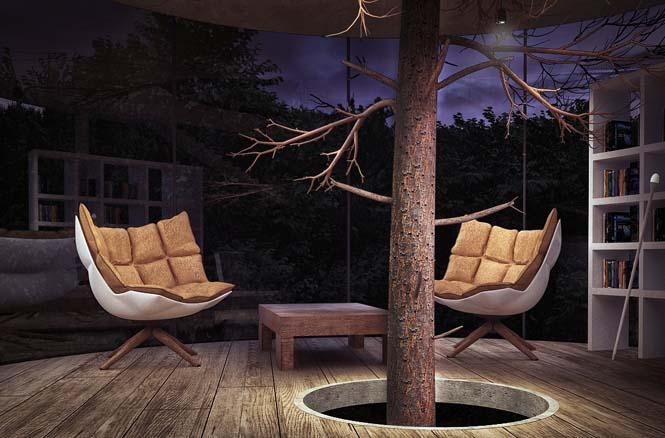 Εκπληκτικό γυάλινο σπίτι γύρω από ένα δέντρο (7)