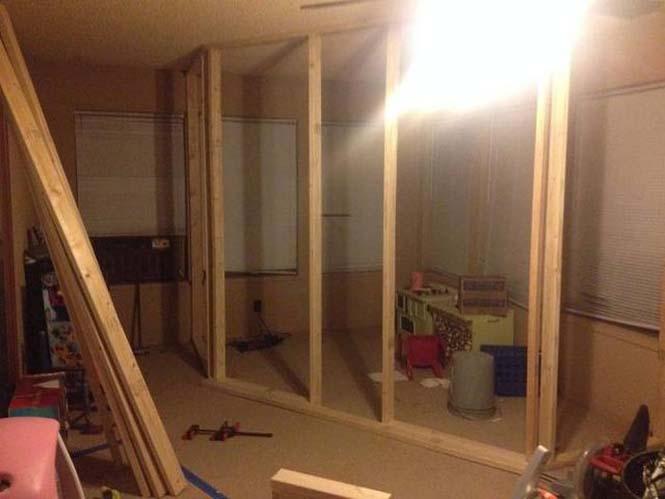 Πατέρας μετέτρεψε ένα ολόκληρο δωμάτιο για τα παιδιά του (2)