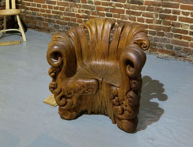 Περίτεχνη πολυθρόνα από ένα κούτσουρο βελανιδιάς (10)