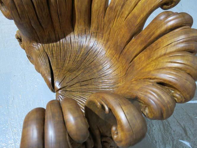 Περίτεχνη πολυθρόνα από ένα κούτσουρο βελανιδιάς (4)
