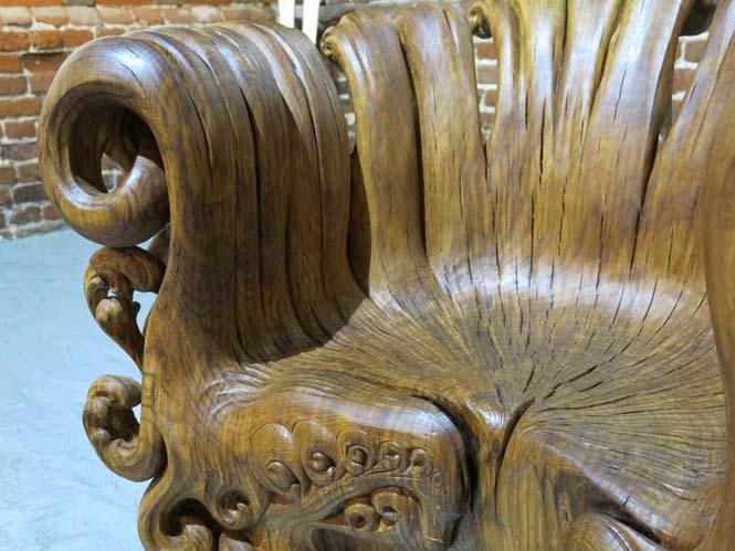 Περίτεχνη πολυθρόνα από ένα κούτσουρο βελανιδιάς (3)