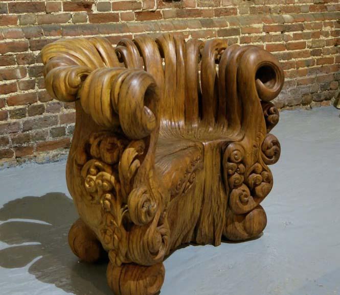 Περίτεχνη πολυθρόνα από ένα κούτσουρο βελανιδιάς (12)