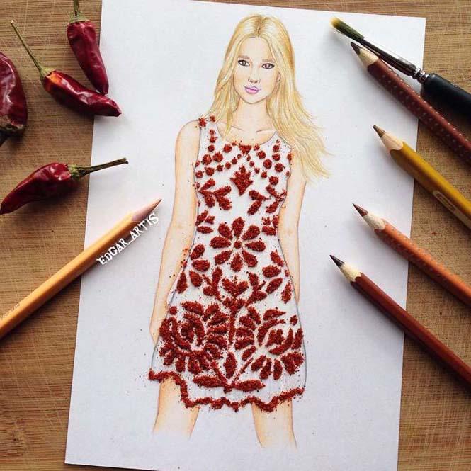 Σκιτσογράφος φαντάζεται δημιουργικά φορέματα από τρόφιμα (1)