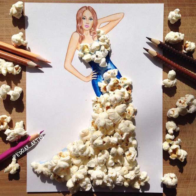 Σκιτσογράφος φαντάζεται δημιουργικά φορέματα από τρόφιμα (2)