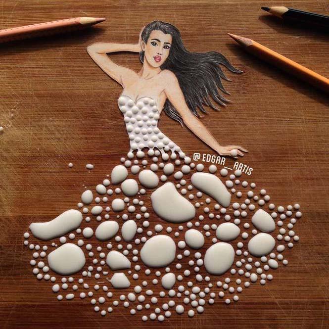 Σκιτσογράφος φαντάζεται δημιουργικά φορέματα από τρόφιμα (3)