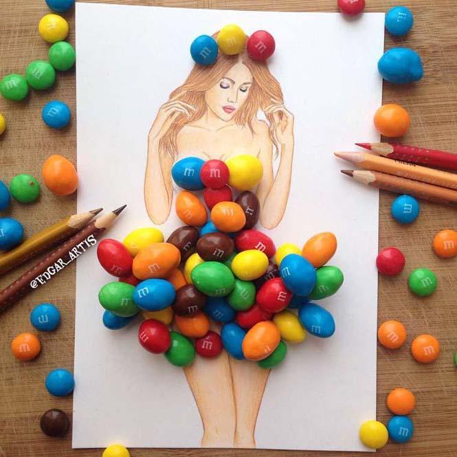 Σκιτσογράφος φαντάζεται δημιουργικά φορέματα από τρόφιμα (4)