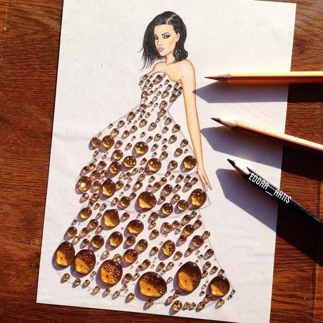 Σκιτσογράφος φαντάζεται δημιουργικά φορέματα από τρόφιμα (5)