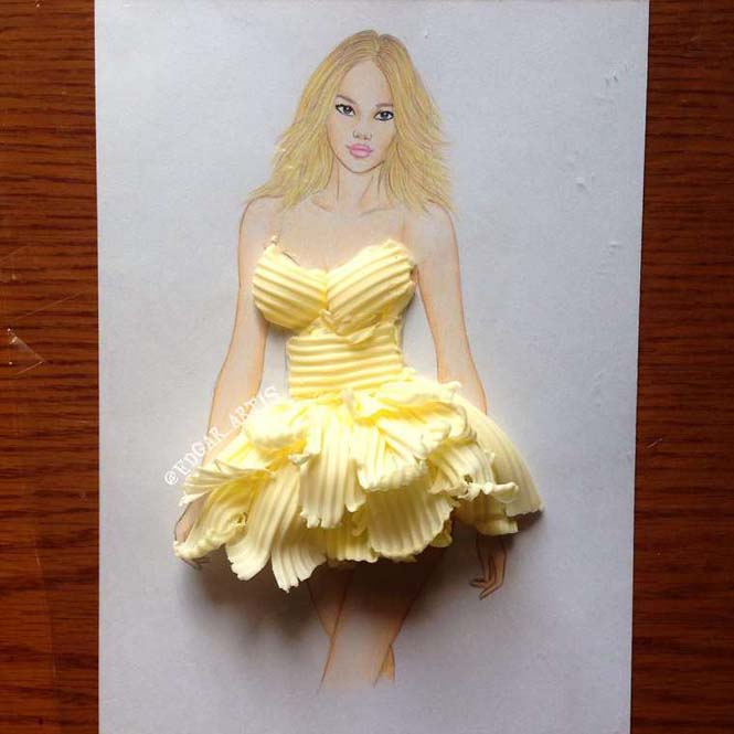 Σκιτσογράφος φαντάζεται δημιουργικά φορέματα από τρόφιμα (6)