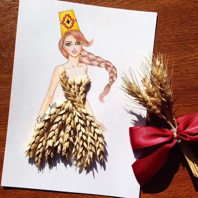 Σκιτσογράφος φαντάζεται δημιουργικά φορέματα από τρόφιμα (7)