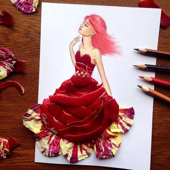Σκιτσογράφος φαντάζεται δημιουργικά φορέματα από τρόφιμα (9)