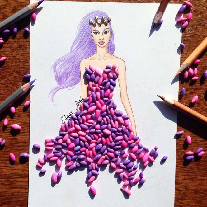 Σκιτσογράφος φαντάζεται δημιουργικά φορέματα από τρόφιμα (10)