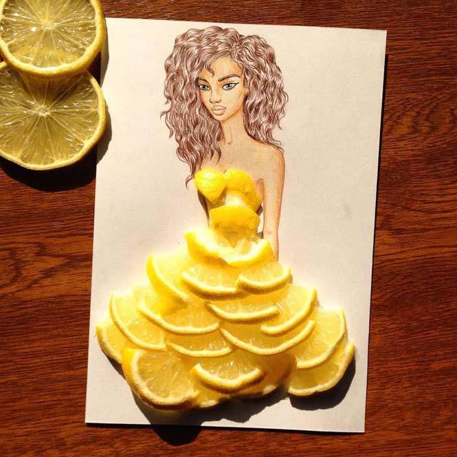 Σκιτσογράφος φαντάζεται δημιουργικά φορέματα από τρόφιμα (11)