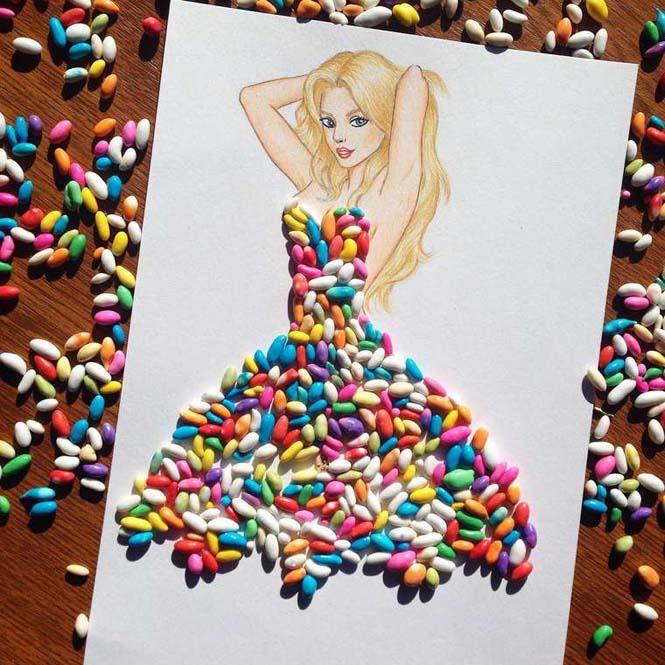 Σκιτσογράφος φαντάζεται δημιουργικά φορέματα από τρόφιμα (12)
