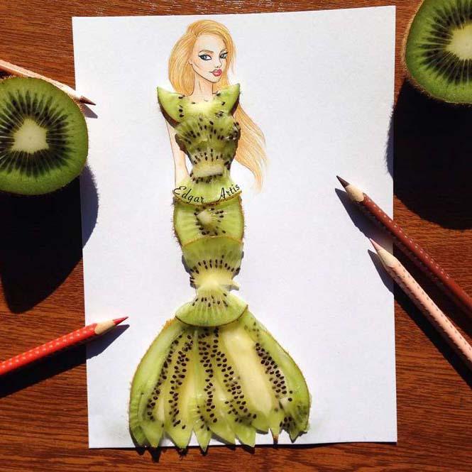 Σκιτσογράφος φαντάζεται δημιουργικά φορέματα από τρόφιμα (13)