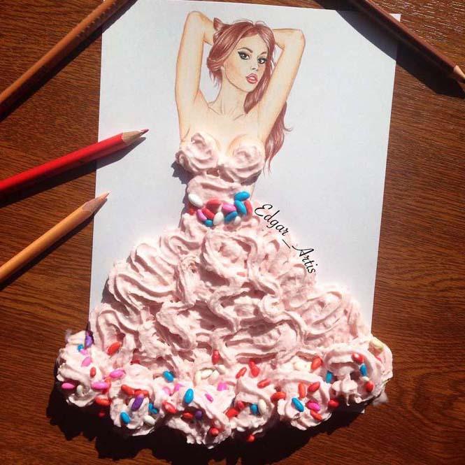 Σκιτσογράφος φαντάζεται δημιουργικά φορέματα από τρόφιμα (14)