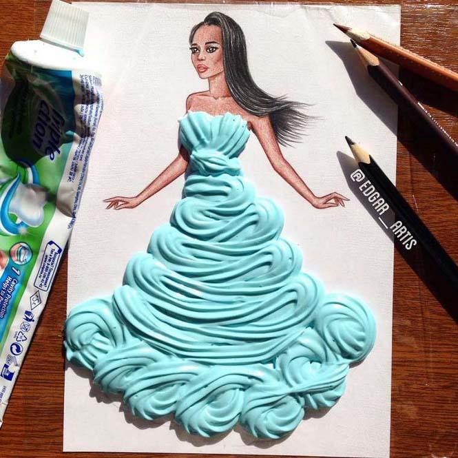 Σκιτσογράφος φαντάζεται δημιουργικά φορέματα από τρόφιμα (15)
