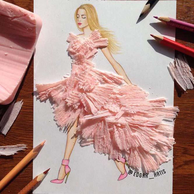 Σκιτσογράφος φαντάζεται δημιουργικά φορέματα από τρόφιμα (16)