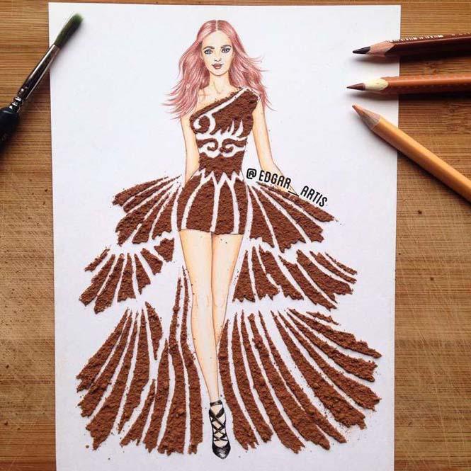 Σκιτσογράφος φαντάζεται δημιουργικά φορέματα από τρόφιμα (17)