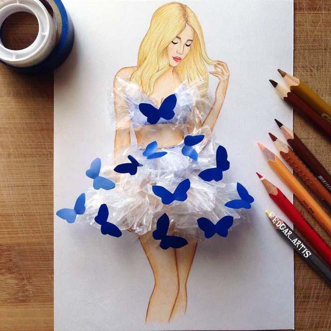 Σκιτσογράφος φαντάζεται δημιουργικά φορέματα από τρόφιμα (18)