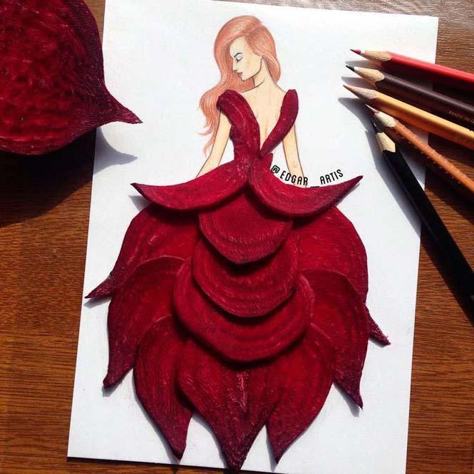 Σκιτσογράφος φαντάζεται δημιουργικά φορέματα από τρόφιμα (20)