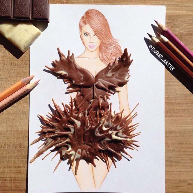 Σκιτσογράφος φαντάζεται δημιουργικά φορέματα από τρόφιμα (22)