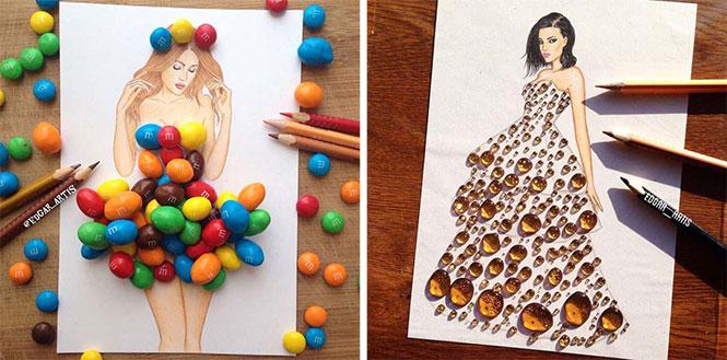 Σκιτσογράφος φαντάζεται δημιουργικά φορέματα από τρόφιμα