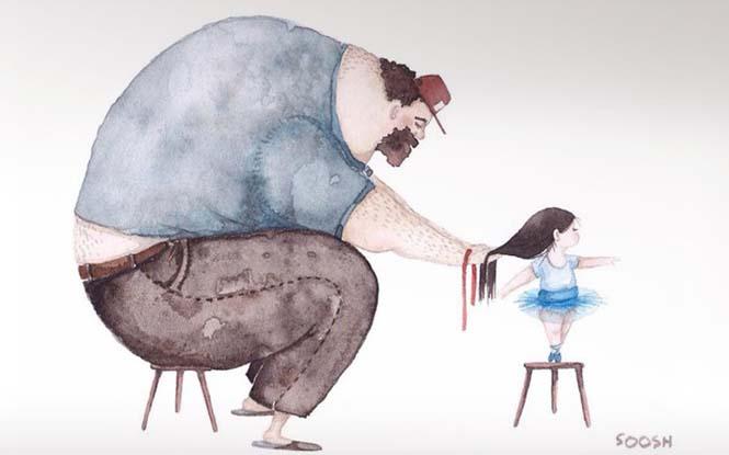 Η μοναδική σχέση πατέρα και κόρης μέσα από παραμυθένια σκίτσα (1)