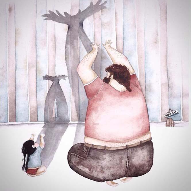 Η μοναδική σχέση πατέρα και κόρης μέσα από παραμυθένια σκίτσα (7)