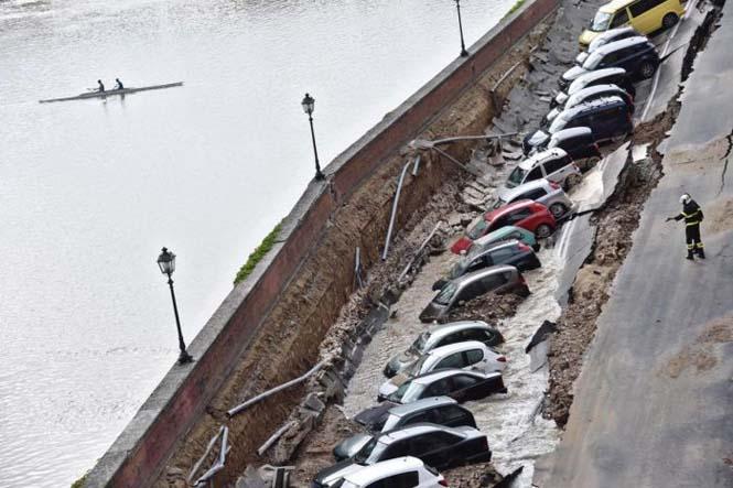 Χώρος στάθμευσης κατέρρευσε στις όχθες του ποταμού Άρνου στη Φλωρεντία (2)