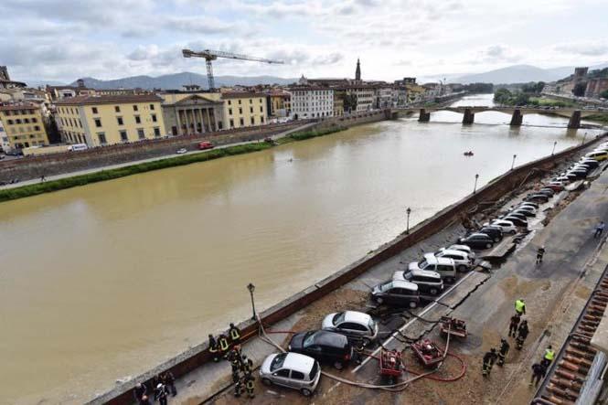 Χώρος στάθμευσης κατέρρευσε στις όχθες του ποταμού Άρνου στη Φλωρεντία (3)