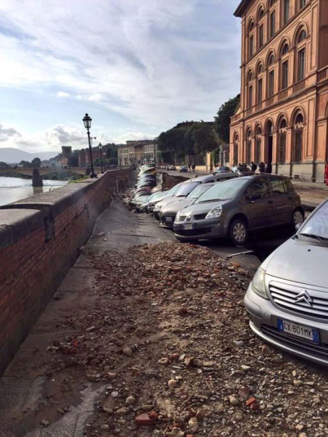 Χώρος στάθμευσης κατέρρευσε στις όχθες του ποταμού Άρνου στη Φλωρεντία (5)